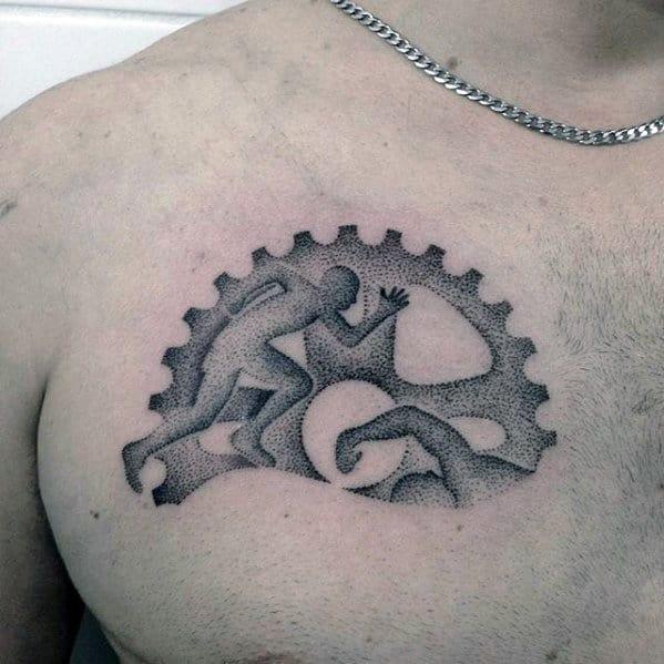 Upper Chest Ironman Male Tattoo