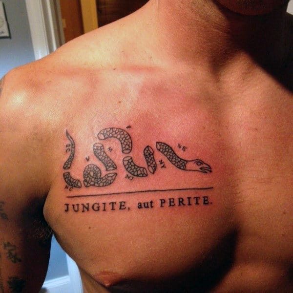 Upper Chest Join Or Die Tattoos For Men