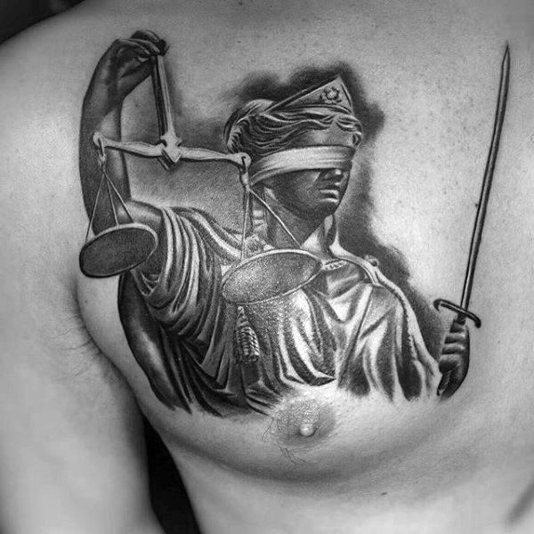 Upper Chest Lady Justice Male Tattoos