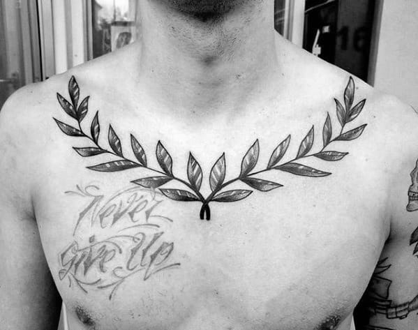 Upper Chest Laurel Wreath Tattoo Designs For Guys