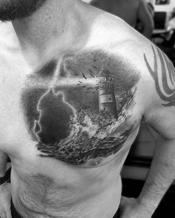 Upper Chest Lighthouse With Ocean Waves Mens Thunderstorm Tattoo Design Ideas