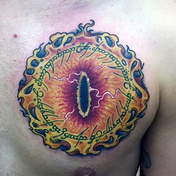 Upper Chest Lord Of The Rings Eye Of Sauron Guys Tattoo Ideas