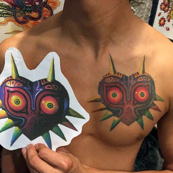 Upper Chest Majoras Mask Tattoos Men