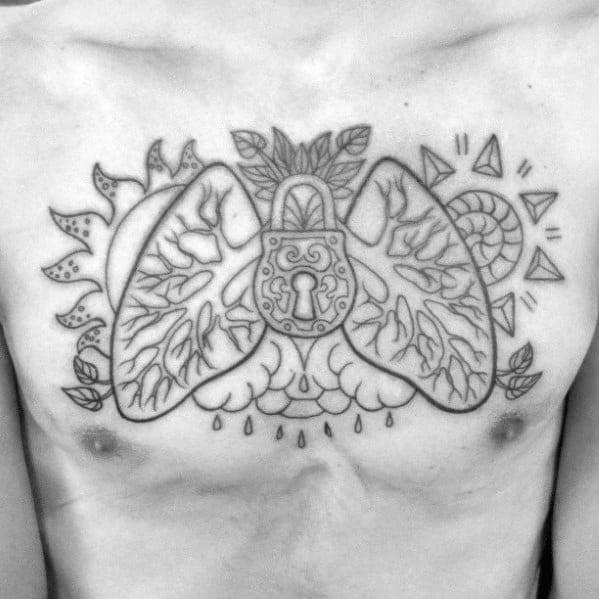 Upper Chest Male Cool Lung Padlock Tattoo Ideas