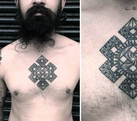 Upper Chest Male Endless Knot Tattoo