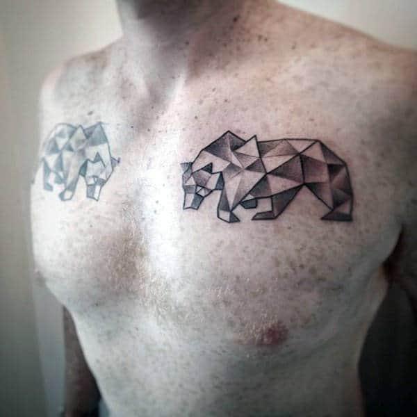 Upper Chest Male Geometric Bears Tattoos