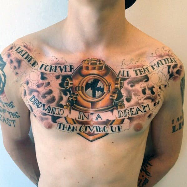 Upper Chest Male Quote With Diving Helmet Tattoo Designs