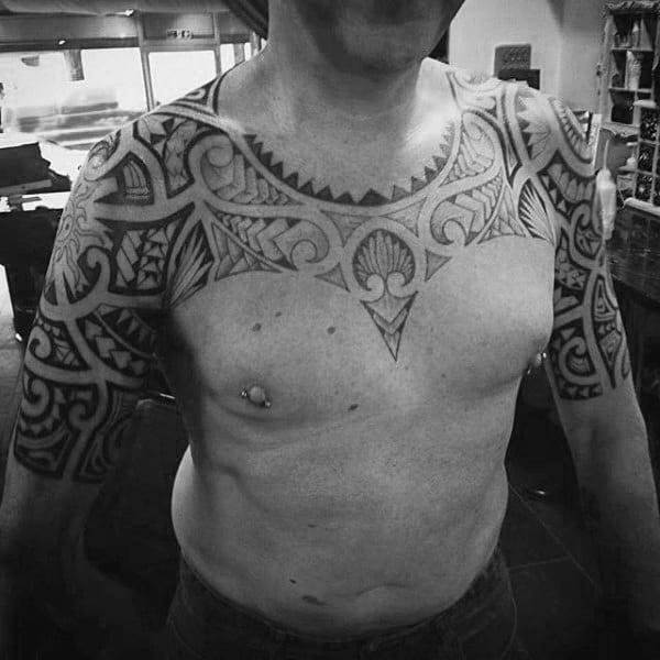 Upper Chest Maori Culture Tattoo On Male