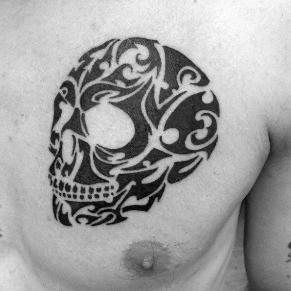 Upper Chest Masculine Tribal Skull Tattoos For Men