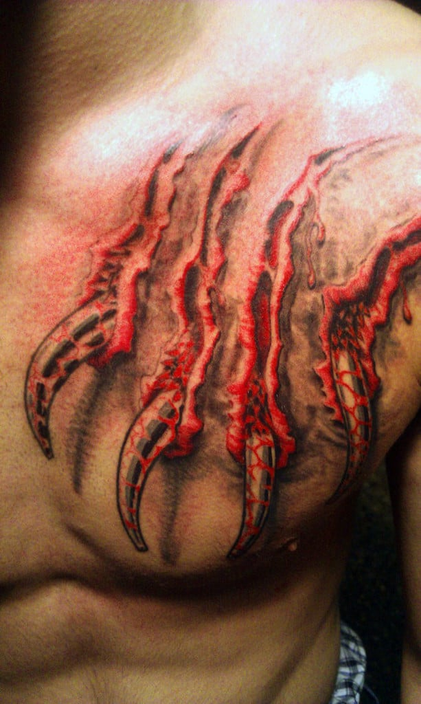 Upper Chest Mens Blood 3d Bear Claw Tattoo Design