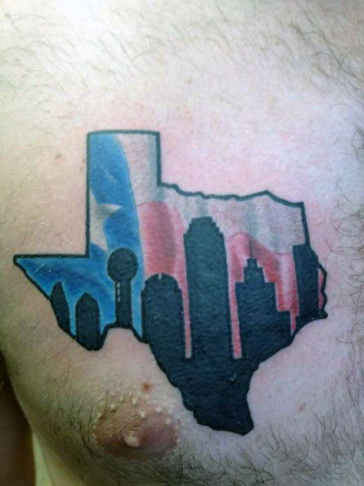 Upper Chest Mens Cool Dallas Skyline Texas Flag Tattoo Ideas