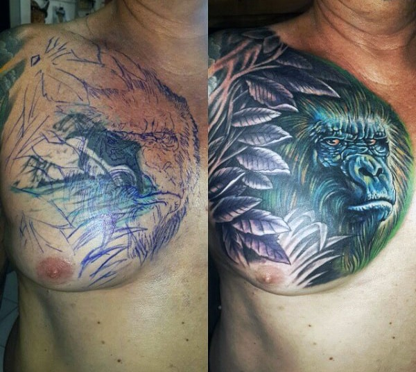 Upper Chest Mens Gorilla And Leaves Tattoo