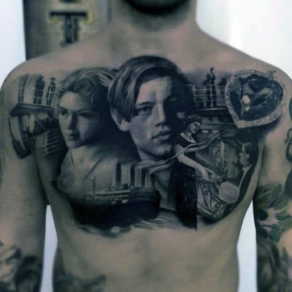 Upper Chest Mens Hyper Realistic Titanic Themed Tattoo