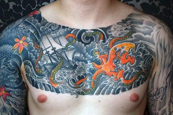 Upper Chest Mens Japanese Octopus With Sailing Ship Tattoo Designs