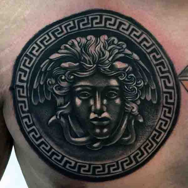 Upper Chest Mens Medusa Tattoo Designs