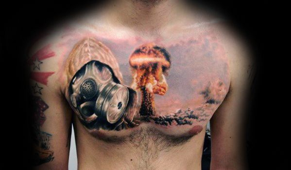 Upper Chest Mens Mushroom Cloud Tattoo Ideas