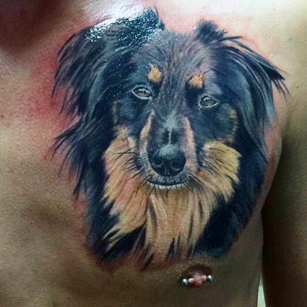 Upper Chest Mens Realistic Dog Tattoos
