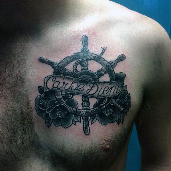 Upper Chest Mens Ship Wheel With Flowers Carpe Diem Tattoo Designs