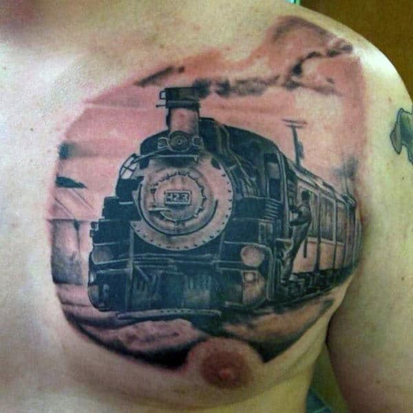 Upper Chest Mens Train Station Tattoos