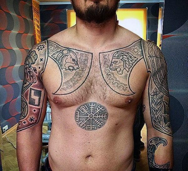 Upper Chest Mens Viking Rune Tattoo