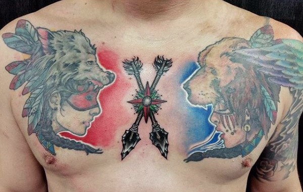 Upper Chest Mens White Ink Shaded Watercolor Native Aerican Tattoo