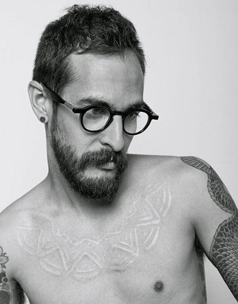 Upper Chest Mens White Ink Tattoo Design Inspiration