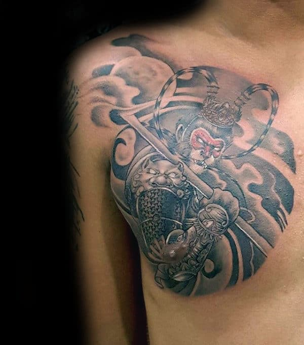 Upper Chest Monkey King Tattoos For Males