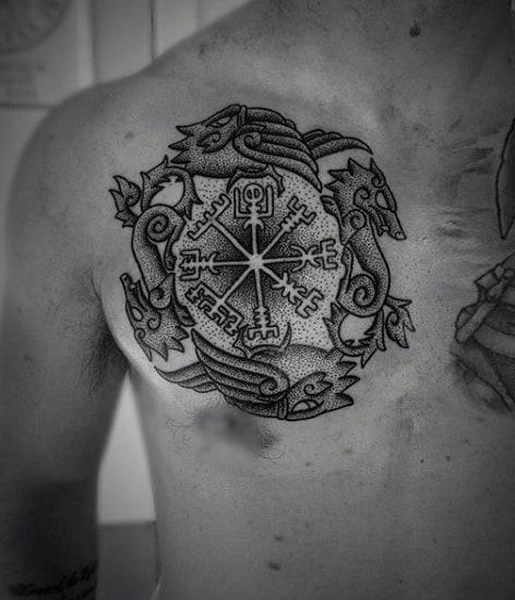 Upper Chest Norse Symbols Rune Male Tattoo Ideas
