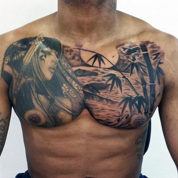 Upper Chest Ocean Bamboo Mens Chest Tattoo Ideas