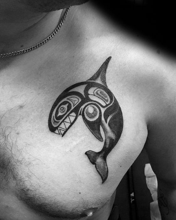 Upper Chest Orca Tattoo Designs For Guys