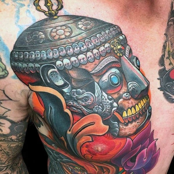 Upper Chest Ornate Skull Head Rad Mens Tattoo Ideas