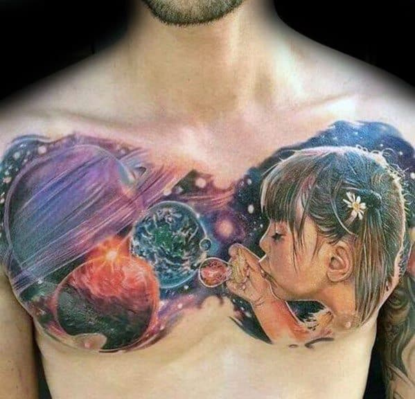 Upper Chest Outer Space Themed Bubble Male Tattoo Ideas