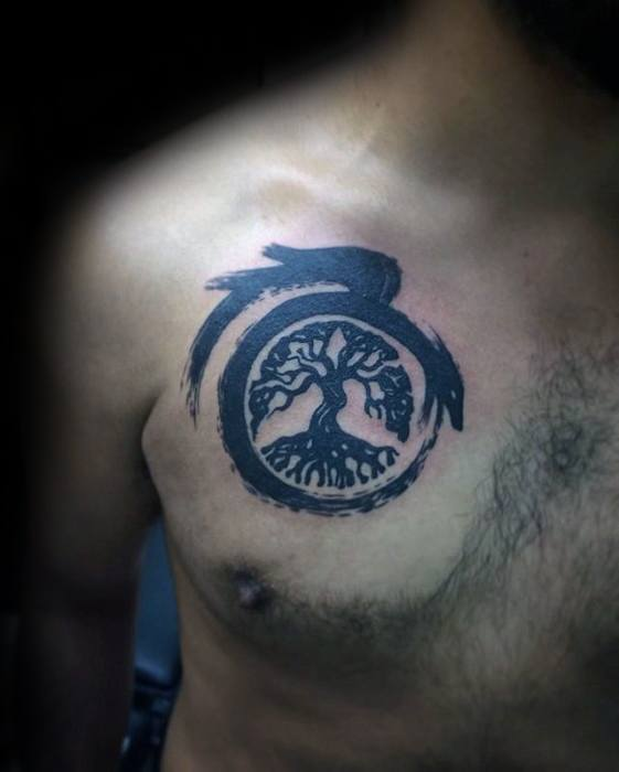 Upper Chest Paint Brus Stroke Tree Of Life Guys Simple Dragon Tattoo Design Ideas