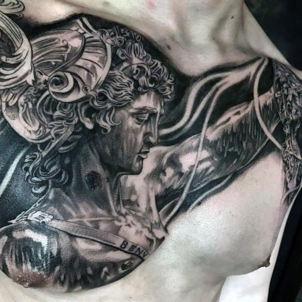 Upper Chest Perseus Tattoo Ideas For Males