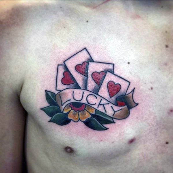 Upper Chest Playing Cards Traditional Guys Good Luck Tattoo Designs