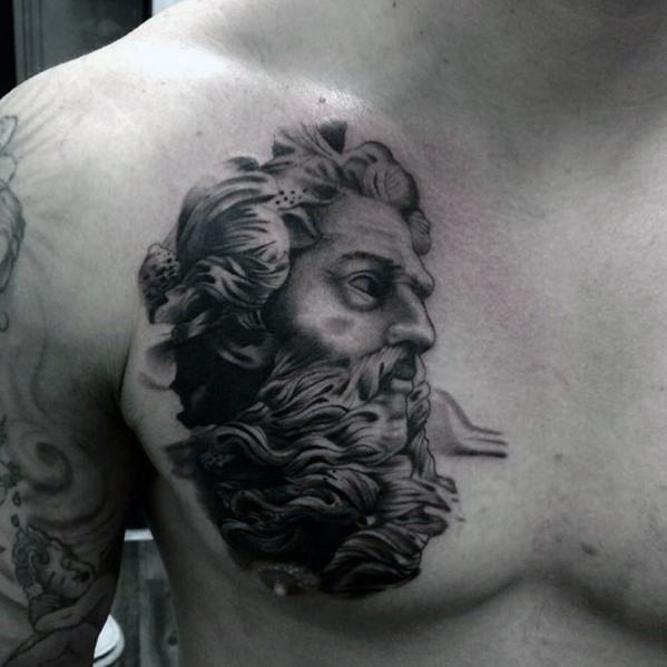 Upper Chest Portrait Of Socrates Mens Tattoo Designs