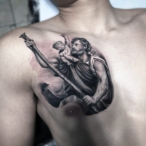 Upper Chest Realistic 3d Male Saint Christopher Tattoo Designs