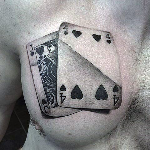 Upper Chest Realistic Male Playing Card Tattoo Ideas