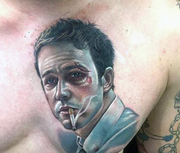Upper Chest Realistic Tyler Durden Fight Club Male Tattoos