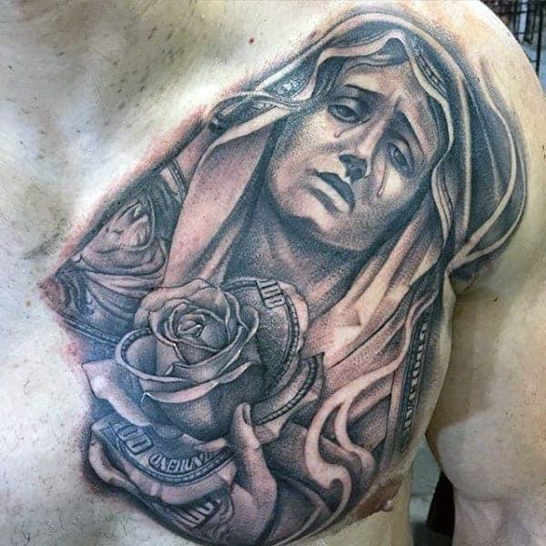 upper-chest-religious-money-rose-tattoos-for-men