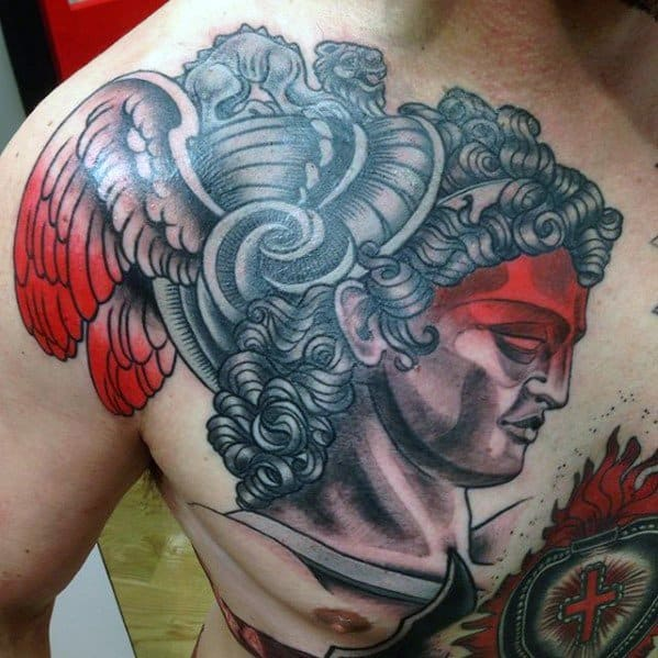 Upper Chest Retro Distinctive Male Perseus Tattoo Designs