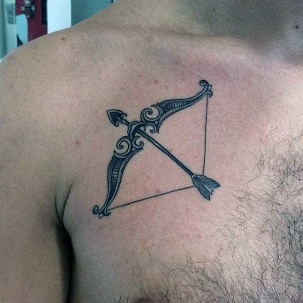 Upper Chest Sagittarius Bow And Arrow Mens Tattoo