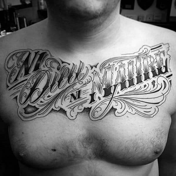 Upper Chest Script Lettering Remarkable Typography Tattoos For Males