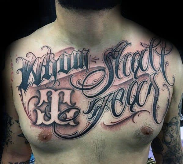 Upper Chest Script Typography Male Tattoos