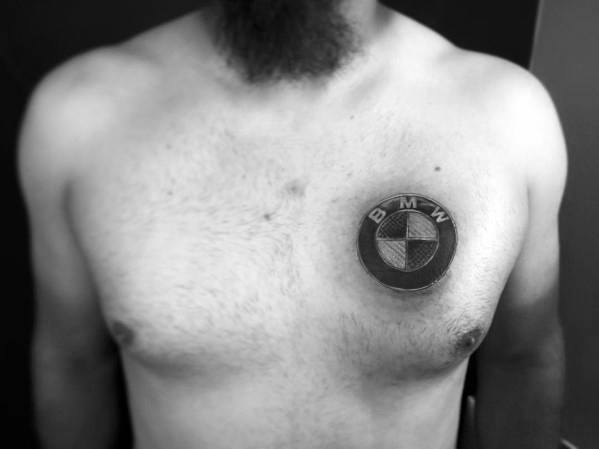 Upper Chest Shaded Black And Grey Logo Bmw Tattoo For Males