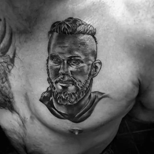 Upper Chest Shaded Ragnar Male Tattoo Designs