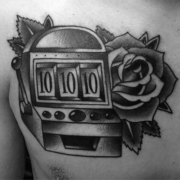 Upper Chest Shaded Rose Flower Slot Machine Tattoo Designs For Guys