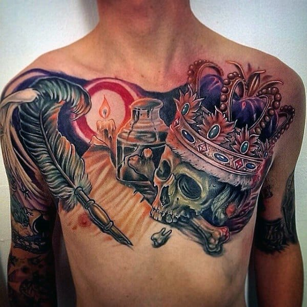Upper Chest Skull With King Crown And Quill Tattoos Men