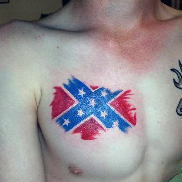 Upper Chest Small Rebel Confederate Flag Guys Tattoos