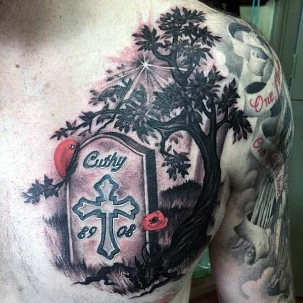 Upper Chest Tombstone And Tree Tattoo Design Inspiration